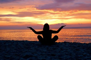 Meditation Workshop Boca Raton - woman meditating on Boca Raton beach