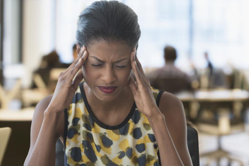 Anxious businesswoman