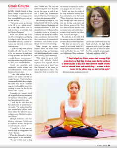 Meditation with Michelle Goebel Meditation Instructor Boca Raton Observer April 2016